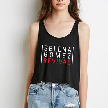 "Selena Gomez ""Selena Gomez - Revival"" Red Boxy, Cropped Tank Top"