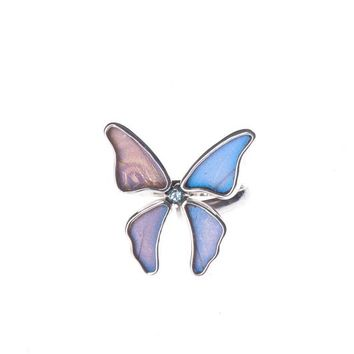 Silver butterfly ring with aquamarine birthstone - Iridescent Blue  Morpho Didius