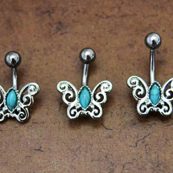 Butterfly Belly 3 Sizes Bar Barbell, Ornate Silver Belly Button Ring, Turquoise Belly Button Ring, 14G Surgical Steel