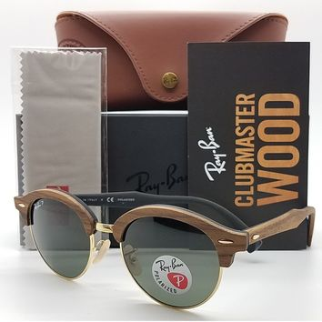 NEW Rayban Clubround Sunglasses RB4246M Wood Grey Polarized Wooden Clubmaster