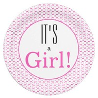 It's a Girl! Baby Shower Party Paper Plates