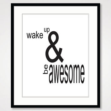 inspirational print, typography poster, motivational wall art, black and white art, be awesome quote poster, minimalist type home decor art