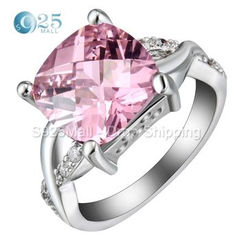 2017 New silver color knot engagement ring big pink square CZ stone fashion cross wedding jewelry for women lady gift