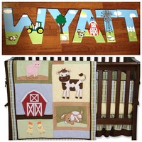 BABY BARNYARD INSPIRED HAND PAINTED WOOD WALL LETTERS
