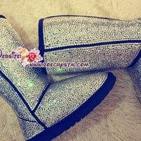 PROMOTION WINTER Bling and Sparkly Strass UGG Inspired SheepSkin Wool BOOTS w shinning Czech or Swarovski Crystals - ZoeCrystal
