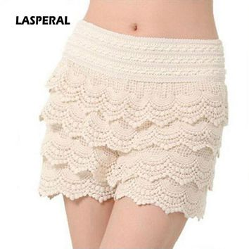 LASPERAL 2016 New Summer Fashion Womens Shorts Sweet Style Lace Crochet Elastic Waist Slim Short Pants Plus Size S M L XL