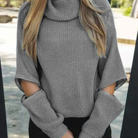 Gray Zipper Detail Long Sleeve Knitted Sweater