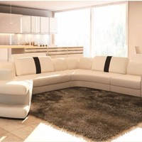Luxury Modern White Leather Sectional Sofa