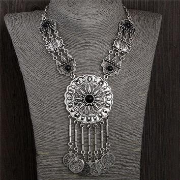 77G Collar Choker Statement Bohemian necklace Coin Gypsy Tribal ethnic Turkish Chain (Size: 45.5 cm, Color: Silver gray)