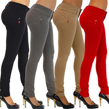 2016 Sexy Skinny Slim Fit Jeans Womens High Waist Jeggings Pencil Pants Trousers
