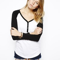 Block Baseball Top with Button Detail