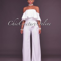 Deci White Belted Off The Shoulder Jumpsuit
