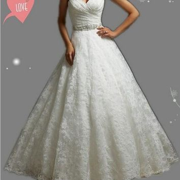 embroidery corset strapless White Ivory gown with Crystal Beads Wedding Dresses 2015 Bridal Dress plus size party maxi elegant