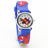 Free Shipping 1pcs 3D Cartoon Spider-Man SpiderMan doll kids Watch Children Kids Girls Boys Students Quartz Wristwatches.