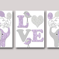 Kids Wall Art Elephant Nursery Bird Nursery Baby Girl Nursery art print Children Wall Art Baby Room Decor Kids Print set of 3 8x10 lavender