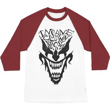 Insane Clown Posse Men's  Face Raglan Mens Baseball Jersey White/Red