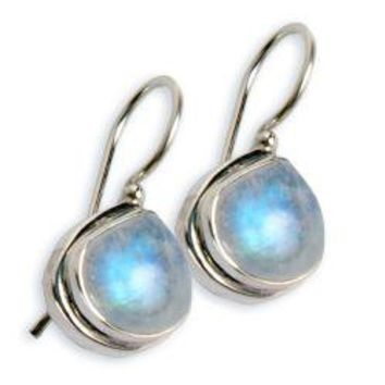 Sterling Silver Rainbow Moonstone Earrings (India) | Overstock.com