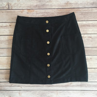 Olivia Button Front Skirt (Black)