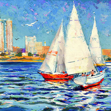 Yachts - Contemporary Wall Art acrylic oil palette knife painting by Dmitry Spiros 24x32, 60x80cm