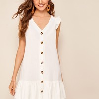 Tiered Ruffle Hem Button Front Tea Dress