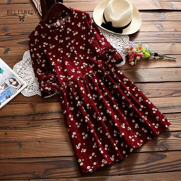New And Winter Dresses Red Blue Color Floral Print Long Sleeve Dress O Neck Corduroy Preppy Dress