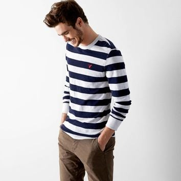 AEO Heritage Striped Thermal, Oatmeal Heather | American Eagle Outfitters