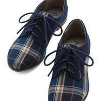 ModCloth Menswear Inspired, Vintage Inspired, 20s, Scholastic Stepping to the Beat Flat in Plaid