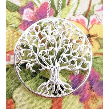 Curlicue Branches Large Tree of Life Medallion Necklace