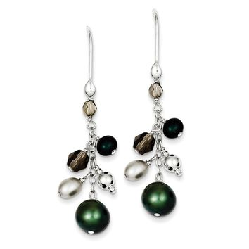 Sterling Silver Fresh Water Cultured Green & White Glass Pearl Cluster Dangle Earrings