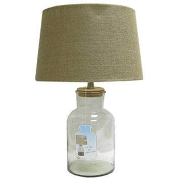 Clear Fillable Glass Jar Lamp with Burlap Shade | Shop Hobby Lobby