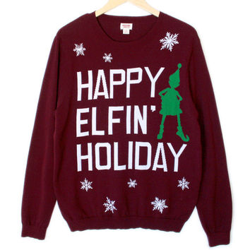 Happy Elfin' Holiday Tacky Ugly Christmas Sweater