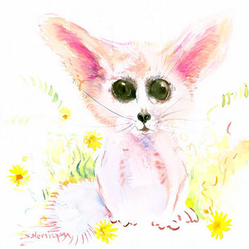 Baby Fennec Fox, children room art, 12 X 12 in, original watercolor art, cute animal illustration