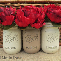 Set of 3 Painted Mason Jars in Cream & Tan, Pint Size, Distressed Home Wedding Party Decor, Rustic Shabby Chic Floral, Country