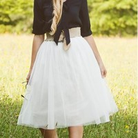 Mid-Length Solid Tulle Skirt