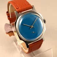 "Minimalist Vintage Soviet men's watch called ""VICTORY""( Pobeda),plain deep blue dial, comes with high quality new leather band!"