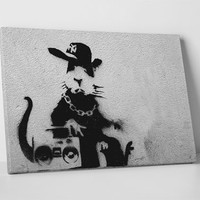 Boombox Rat by Banksy Gallery Wrapped Canvas Print