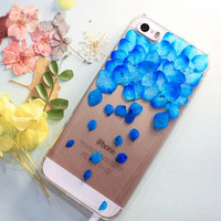 Blue Real Flower Petal Case