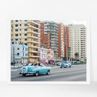 Cuba Poster, Havana Wall Art, Classic Car Photography, Havana Architecture Art, Cuba Art Print, Large Wall Decor, Travel Photography
