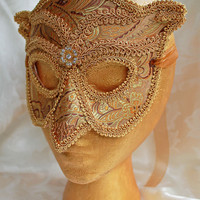 Made to Order Gold Brocade Over Leather Owl Masquerade Mask Gold Owl Masquerade Ball Mask