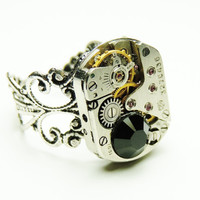 steampunk swiss watch movement ring- victorian steampunk - adjustable ring