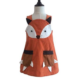 Cute Baby Kid Girls Fox Dress Halter Fall Corduroy Dress with Pockets Orange Halloween Party Dress