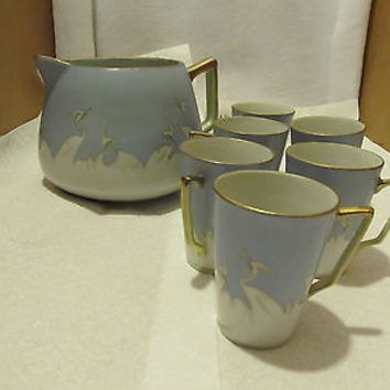 VINTAGE HAND PAINTED NIPPON LEMONADE PITCHER WITH SIX CUPS