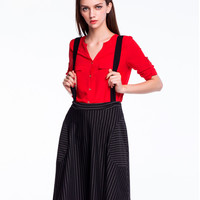 Black Striped Strap Loose Skirt
