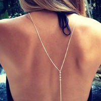 Crystal Back Body Chain Women Sexy Necklace