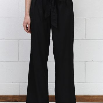 Office Chic Tie Front Wide Leg Dress Pants {Black}