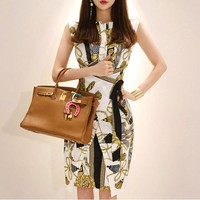 Sexy Pencil Print Dress Women Summer New OL Sheath Work Casual Slim Elegant Leaf Party Bodycon Dress Midi Vestidos