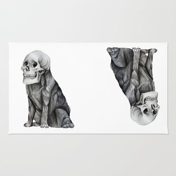 skullpug // A brutal pug wearing a human skull made in pencil Rug by Camila Quintana S