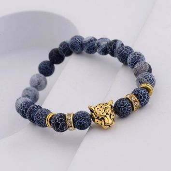 Amader New Weathering Stone Charm Men Bracelet Lucky Women Gold Leopard Head Bracelets Fashion Jewelry Gift WAB128