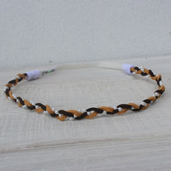 Rad Braided Brown Black Suede Headband with Pearls