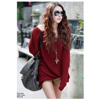 Free Size Women/Girl Red Bat-Wing Sleeves Loose and Comfortable Sweater@T655r